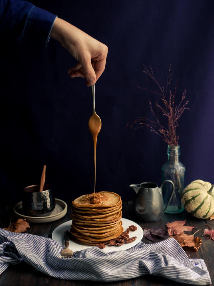 Pumpkin Pancakes, Salted Caramel & Pecans
