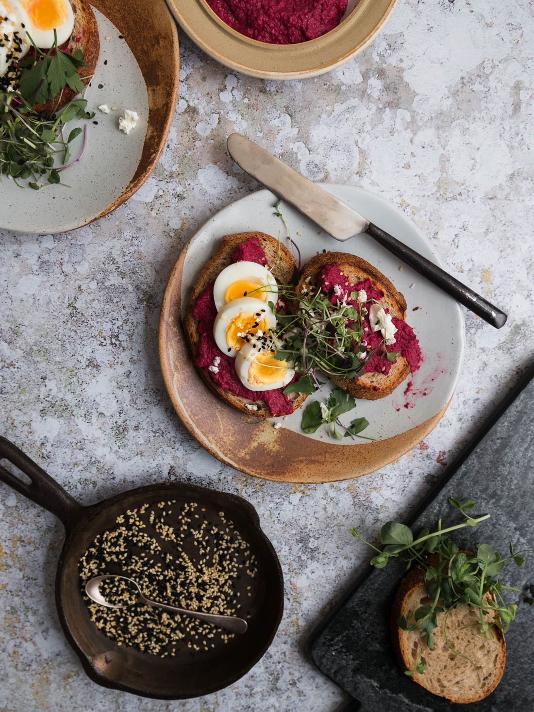 Beetroot, Feta and Egg Toasts