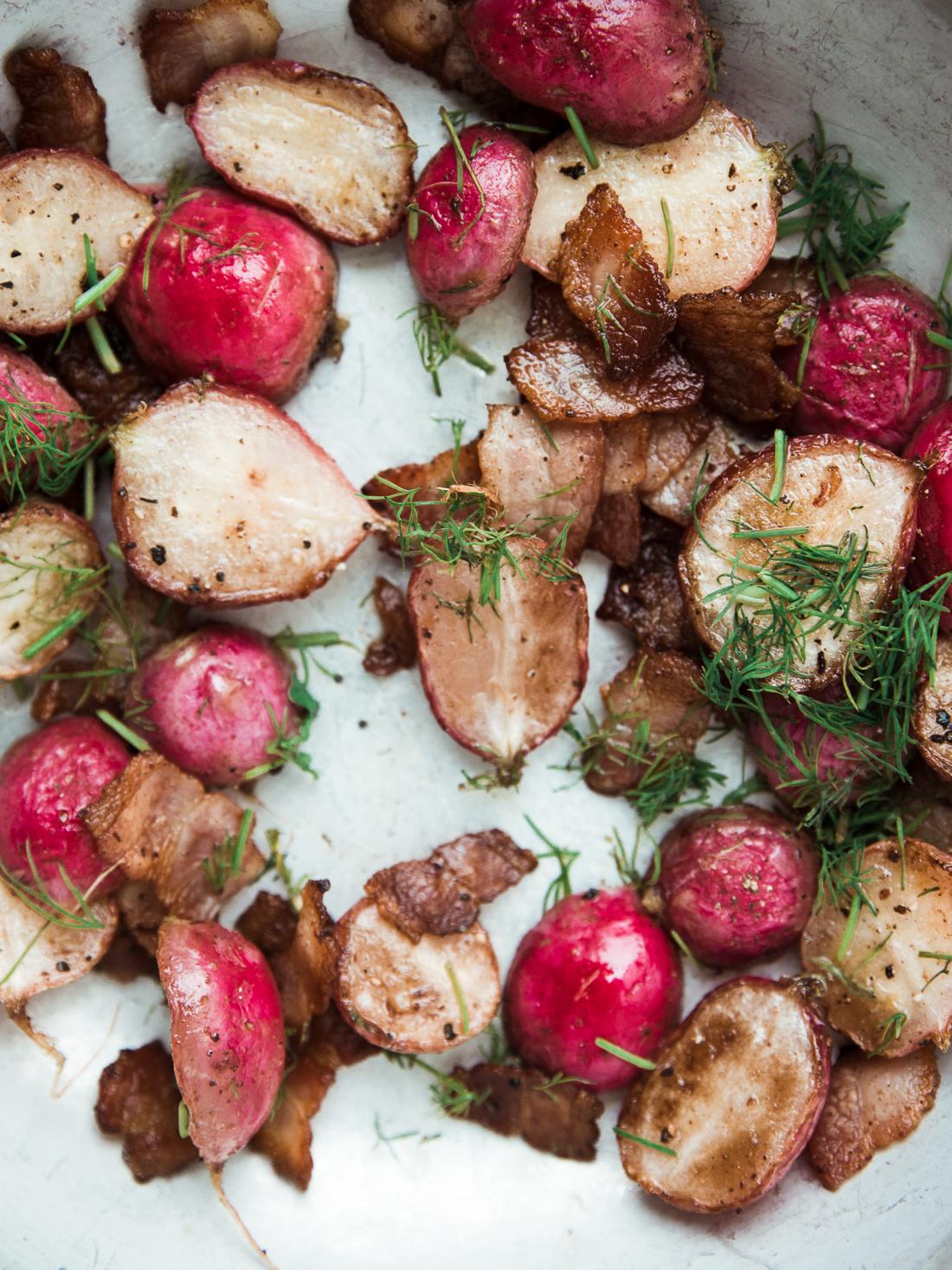 Stovetop Radish and Bacon Toasts