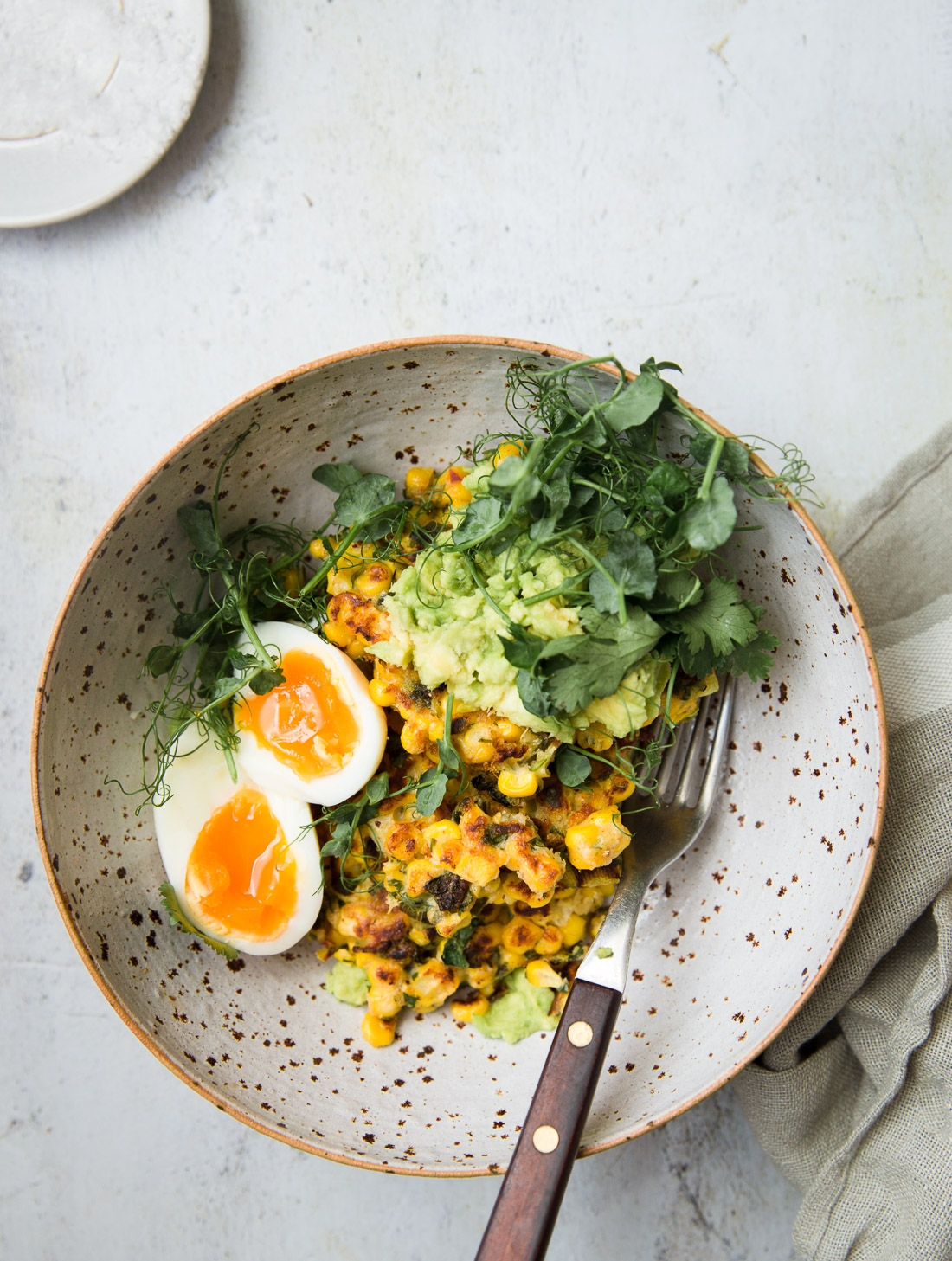 Chilli Sweetcorn Fritters, Avocado, Egg
